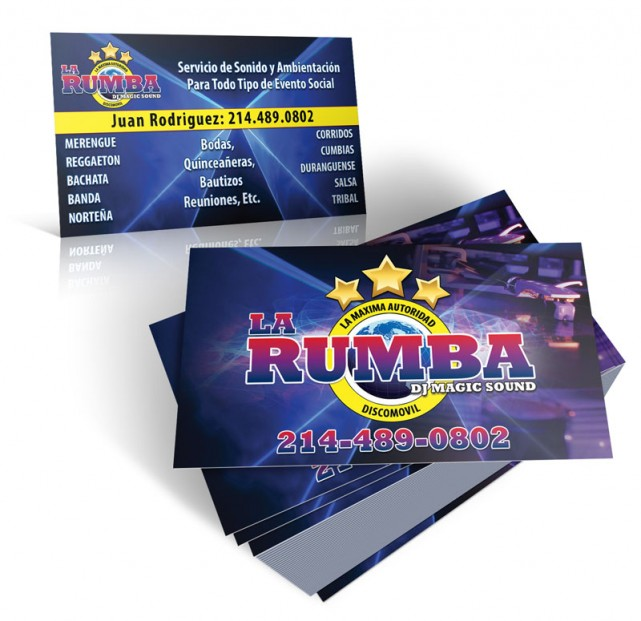 Professional graphic design and print services kagenaxsonido la sonido la rumba business cards reheart Gallery